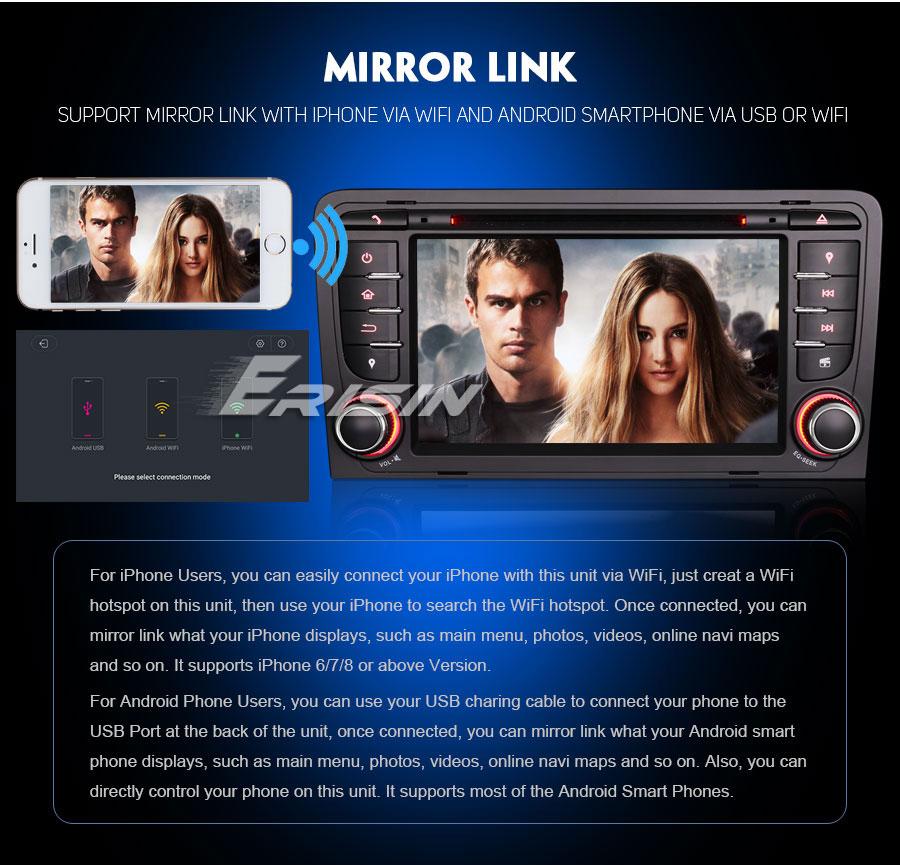 Навигация двоен дин за Audi A3(03-11) с Android 8.0 ES7947A, GPS, WiFi, 7 инча