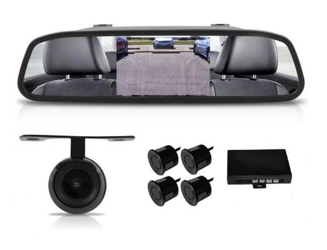 Огледало и камера за паркиране + парктроник за кола 3 в 1 АТ 112M