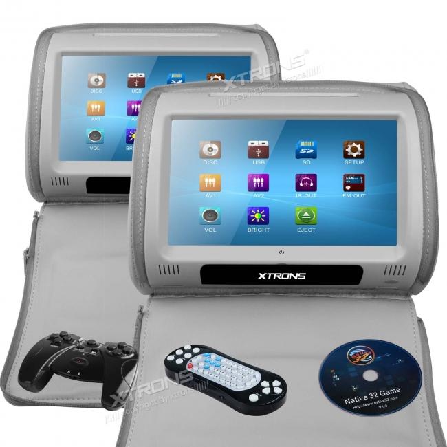 Подглавници за кола HD908TTG с DVD, USB, SD, FM-трансмитер, 9 инча