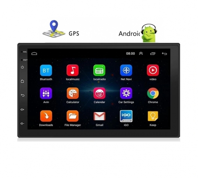 Универсална навигация двоен дин АТ 7023, Android 9, 1GB RAM, Wi-Fi, GPS