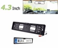 Огледало с 4.3 инча монитор + КАМЕРА за паркиране в рамка на номера